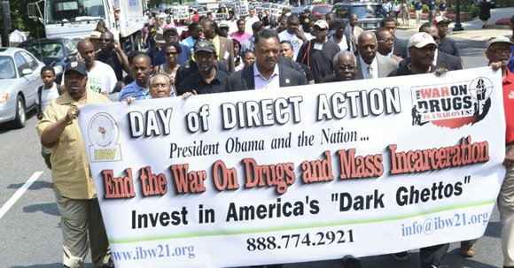 Black activists marked the 42nd anniversary of the War on Drugs with a protest in front of the White House ...