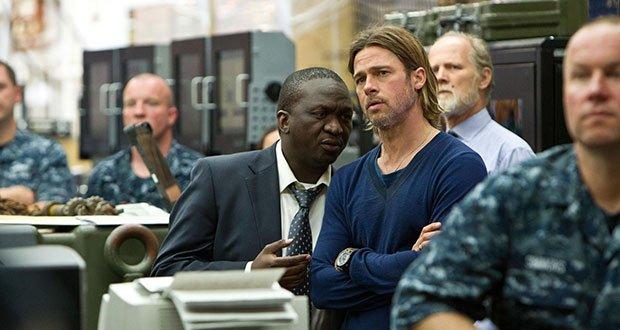 Fana Mokoena and Brad Pitt in World War Z