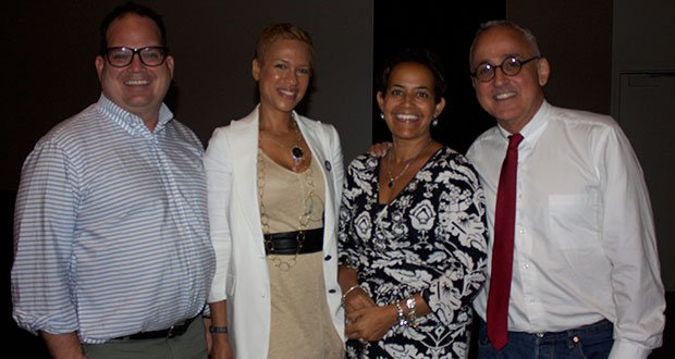 """A Conversation with Tonya Lewis Lee"" on June 30 at the Museum of Fine Arts. (L-R): Micheal Flaherty, president, Walden Media; Tonya Lewis Lee; Lisa Simmons, director, RIFF; and Randy Testa from Walden Media."