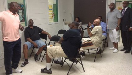 Park Heights residents attend a workshop  held in the Towanda Recreation Center. L-rear, Edward Pitchford, Center for Urban Families, R-rear Broderick Young, Young Consulting.