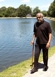 For exercise after his stroke, Wiley walks around the reservoir in Brookline.