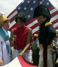 The start of the flag project was heralded with great fanfare by canon fire and living history re-enactors in 1812 era dress including the 'first stitch' sewn by Baltimore Mayor Stephanie Rawlings-Blake.