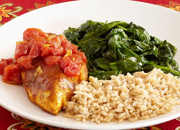 Moroccan Chicken with Brown Rice and Lemon Sautéed Spinach