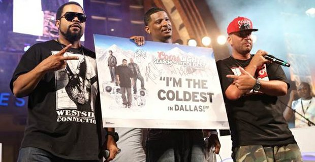Ice Cube and DJ Drama crown local artist, D. Brown, center, the Coldest MC in Dallas, at the first search for the Coldest 2013 artist showcase, held at the AT&T Plaza at the American Airlines Center. D. Brown was one of two MCs selected by fans to compete in Dallas, and will now have the chance to compete against aspiring MCs from across the country during the semifinals in Atlanta.