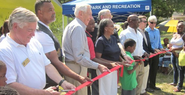 The ribbon cutting for the new pavilion at College Park in Oak Cliff.