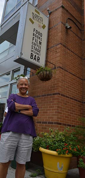Nikki Giovanni stands in front of Busboys and Poets in Northwest. The acclaimed poet shared her thoughts about the Trayvon Martin case, President Barack Obama and her new book during an interview with radio talk show host Rock Newman on Saturday, July 13. More than 100 poetry lovers filed through the doors of the 14th and V Street restaurant to hear Giovanni's opinions on various topics.