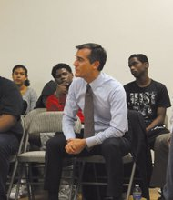 "Mayor Eric Garcetti listens intently as young people at the Community Coalition vent their frustrations and fears in the wake of the ""not guilty"" verdict in the Trayvon Martin murder trial."
