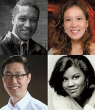 Top row, left to right: Bass-baritone Mark S. Doss and pianist Phoenix Park-Kim. Second row: Composer Joo Poong Kim and soprano Anita Johnson.