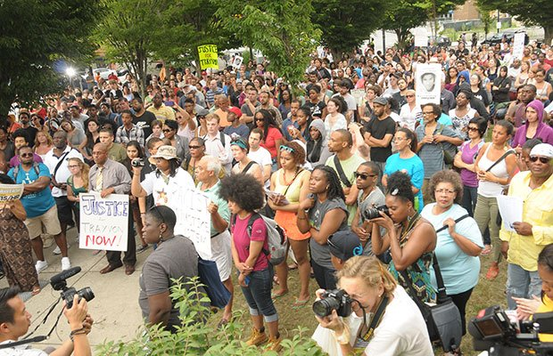 A large crowd gathered to protest in Dudley Square on Sunday in reaction to the acquital of George Zimmerman in the shooting death of Trayvon Martin.
