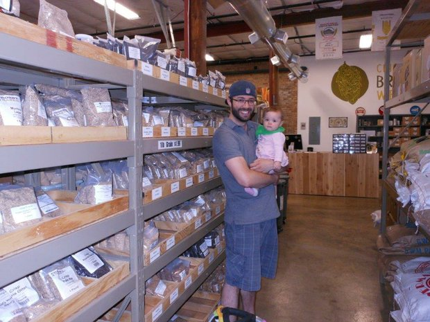 Kurt Triebe with daughter Claire shop for ingredients at Chicago Brew Werks