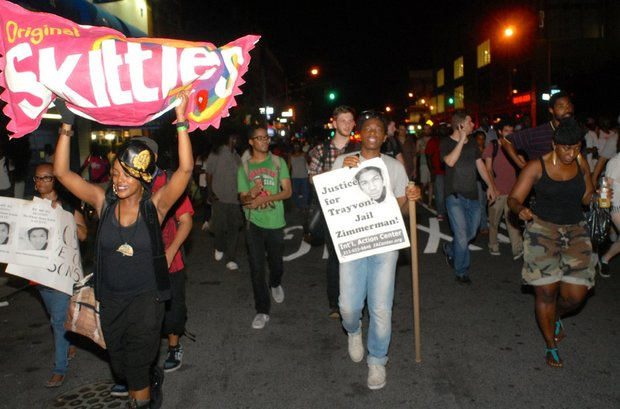Trayvon Martin rally at night