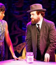 "Amber Iman as Nina Simone and Eric Anderson as Rabbi Shiomo Carlebach in Brodways ""Soul Doctor"""