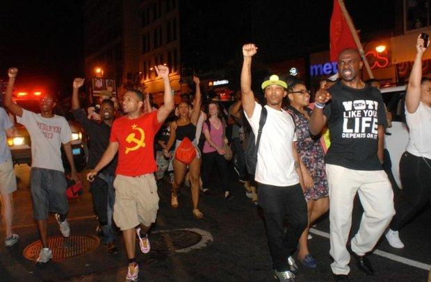 Trayvon Rally at night