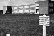 "Robert Russa Moton High School in Farmville, Va., photographed during the period of ""Massive Resistance"" in which Virginia's state and local officials closed public schools rather than comply with Supreme Court desegregation mandates."