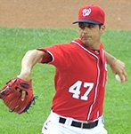 Washington Nationals ace pitcher Gio Gonzalez held the Dodgers scoreless for six innings and matched a career high 11 strikeouts on Saturday, July 20 at Nationals Park in Southeast. The Dodgers swept the Nationals in a weekend series.