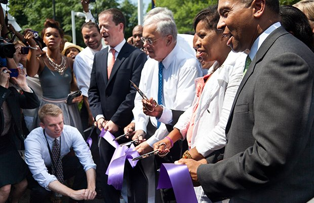 Wednesday, July 17th, 2013 - Governor Patrick joins Mayor Menino, state and local officials and community members for the ribbon cutting of the MBTA Fairmount Line Four Corners/Geneva commuter rail in Dorchester