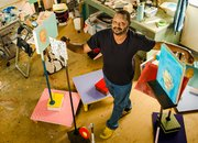 """Locke in the studio. """"I'm very lucky to do this and have the means to do it."""" Locke is an associate professor at the Massachusetts College of Art and Design."""