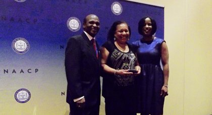 Baltimore City NAACP President Tessa Hill-Aston accepted the 2013 Thalheimer Award on behalf of the city branch of the civil ...
