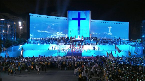 Pope travels to Brazil for the Catholic World Youth Day festival  The faithful gather in Rio de Janeiro, Brazil, on Thursday July 25, 2013. Pope Francis is in Brazil for the 28th Roman Catholic World Youth Day festival. This marks his first foreign trip as Pope.