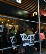 Fast food worker's strikers at the McDonald's in Times Square on April 4, 2013