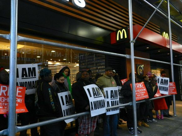 New York City fast food employees started walking out of their respective businesses today as part of a national day-long ...