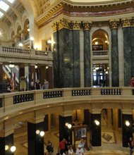 The Wisconsin State Capital is 284-feet-high and features the only granite dome in the U.S.