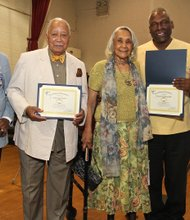 The Riverton Alumni Ring of Gold evening of fun, food and friends. Accepting awards (L to R): Wilfred DeFour, former Mayor David Dinkins, Constance Wright, Assemblyman Keith Wright and Duane Hinton