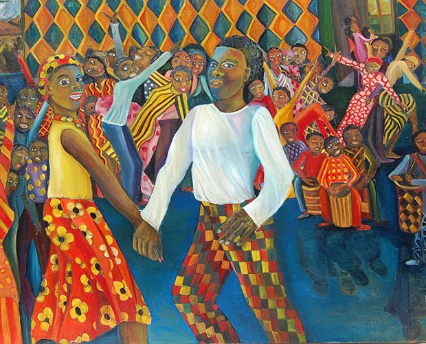 "Mission Hill artist Marilyn Jan Casey's oil painting ""African Americans Introduced to Christianity"" is one of the paintings in her exhibit, Modern Spiritual Expressions: Past Present Future, on display at the Parker Hill Library through Sept. 2."