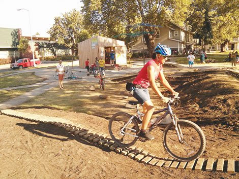 Residents of the New Columbia neighborhood are celebrating the grand opening of a new Bike Skills Park.