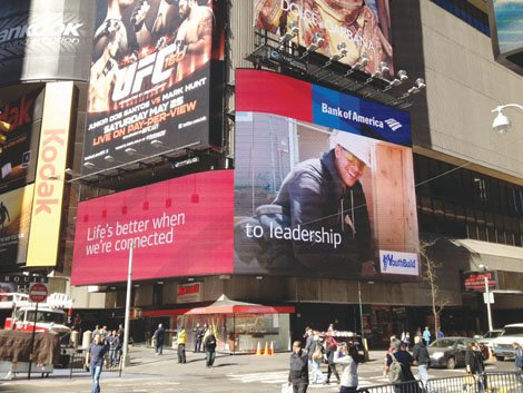 Jordan Senner, a Portland YouthBuilders graduate, was recently featured on Bank of America's Times Square billboard to recognize him for his leadership and contributions.