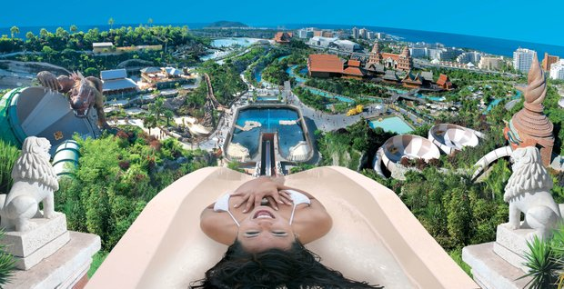 Siam Park, a Thai-themed water park, offers surf lessons in the wave pool, which is capable of creating waves up to nine feet (three meters) high.