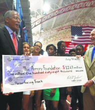 City Council Mmember Robert Jackson presented a million-dollar-plus check to Dr. Norbert Sander, president of the Armory Foundation. The money will be used to renovate the track.