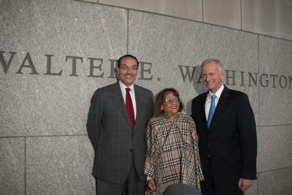 D.C. Mayor Vincent Gray, late Mayor Walter E. Washington's widow Mary, and Ward 2 Council member Jack Evans