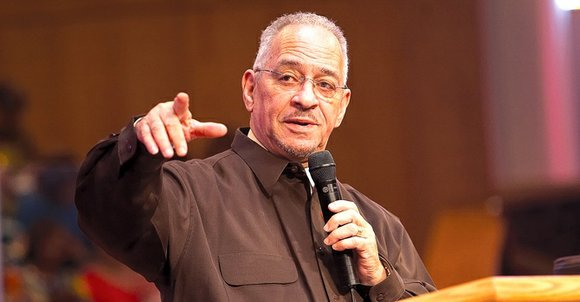 Dr. Jeremiah Wright Jr., pastor emeritus of Trinity United Christian Church in Chicago, gave the keynote address during a town ...
