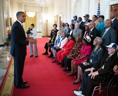 President Obama met Monday with former Negro League baseball players and their family members at the White House, honoring their ...