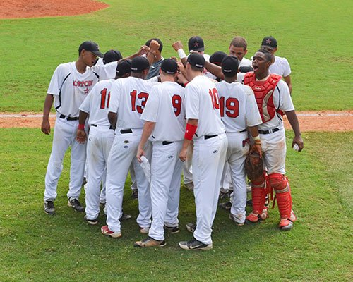 The Boston Astros huddle in Richmond, Virginia before taking on the Greenfield Yellow Jackets at the U.S. Baseball Championships at The University of Richmond on Saturday, July 20, 2013.