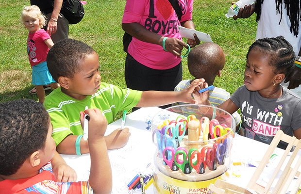 Dorchester youngsters Eli Costa, Jacob Roach, Matheo Gomes and Samantha Weathers drew plants and flowers with the Massachusetts' Horticultural Society's Plantmobile at last year's ParkARTS Boston Children's Festival, hosted by the Boston Parks and Recreation Department. The festival returns to Franklin Park on Aug. 20 from 10 a.m. to 2 p.m.