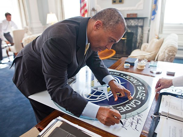 Friday, July 19, 2013 - Governor Patrick signs Executive Order No. 547, in the Governor's Office, renaming the Massachusetts Military Reservation, 'Joint Base Cape Cod.'