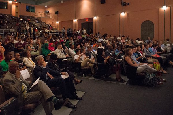 This packed auditorium at Roxbury Community College's Media Arts Center Building #1 held community members for the Future Leaders Mayoral Candidates' Forum on Aug. 1 2013