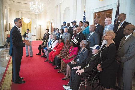 On Monday, President Barack Obama met with former Negro League baseball players in the Blue Room to honor