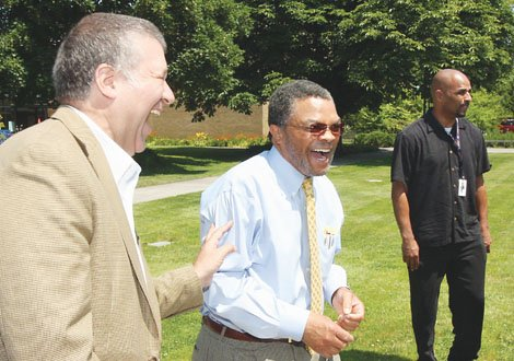 Algie Gatewood welcomes new Portland Community College President Jeremy Brown to PCC's Cascade Campus in north Portland in early July. Gatewood was president of the school for 9 years, seeing credit enrollment grow by 66 percent during his tenure.