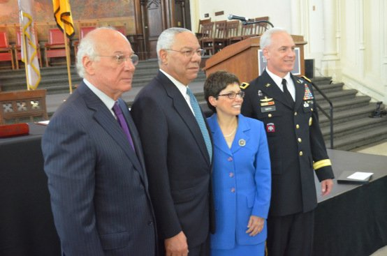 [L-R] Maj. Gen. Jef Smith, commander of the U.S. Cadet Command, Chancellor Mathew Goldstein and City College President Lisa Staiano -Coica signing the agreement to reinstate the Army ROTC program. Photo by:Khorri Atkinson