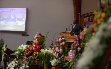 D.C. Council member Marion Barry (D-Ward 8) speaks about the great character of James Bunn during his funeral service at Matthews Memorial Church in Southeast on Friday, Aug. 9. Bunn, chairman of the Congress Heights Main Streets Organization and the Ward 8 Business Council, died Aug. 1.