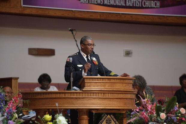 Joel Maupin, chief of D.C. Housing Authority Police and former commander of Metropolitan Police Department's 7th District, offers remarks about the late James Bunn during his funeral service at Matthews Memorial Church in Southeast on Friday, Aug. 9. Bunn, chairman of the Congress Heights Main Streets Organization and the Ward 8 Business Council, died Aug. 1.