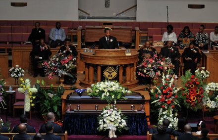 D.C. Council member Kenyan McDuffie (D-Ward 5) offers remarks during the funeral service for James Bunn at Matthews Memorial Church in Southeast on Friday, Aug. 9.  Bunn, chairman of the Congress Heights Main Streets Organization and the Ward 8 Business Council, died Aug. 1.