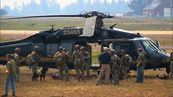 A crew prepared to search an area near Morehead Lake, Idaho. A massive manhunt that spanned 1,000 miles ended in gunfire in the Idaho wild late Saturday afternoon, August 10, 2013, — shots that ended the life of the family friend who was suspected of abducting 16-year-old Hannah Anderson and killing her mother and brother. The teenager was rescued near Morehead Lake, Idaho, where an FBI tactical agent killed her alleged kidnapper, James DiMaggio, around 5:20 p.m (7:20 p.m. ET), authorities said.