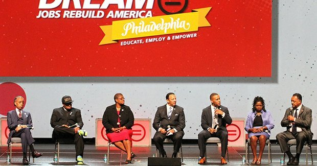 Panelists on the National Urban League's Redeem the Dream panel were, from left: Al Sharpton, Lennox Yearwood, Melanie Campbell, Marc Morial, DeVon Franklin, Barbara Arnwine and Jesse L. Jackson Sr.