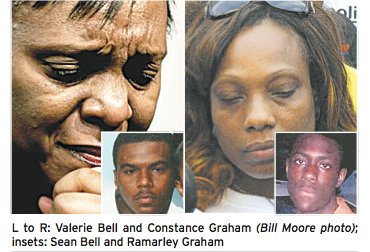 L to R: Valerie Bell and Constance Graham (Bill Moore photo); insets: Sean Bell and Ramarley Graham
