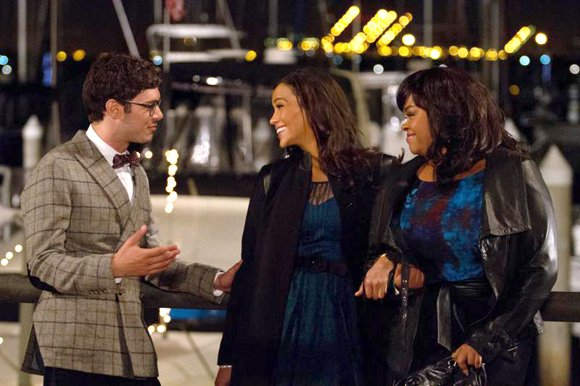 "Adam Brody as ""Sam,"" Paula Patton as ""Montana Moore"" and Jill Scott as Gail"" in ""Baggage Claim."""