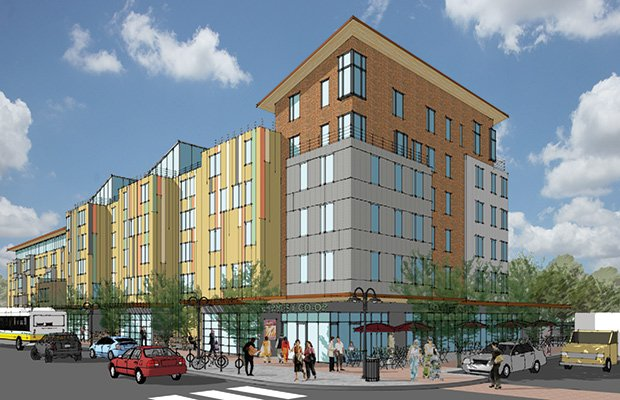 Plans for Bartlett Place, which will be developed on the former MBTA Bartlett bus yard in Roxbury, include 323 units of housing and 54,000 square feet of commercial property. Nuestra Comunidad Development Corp. will lead the project, which has an estimated total cost of about $140 million.